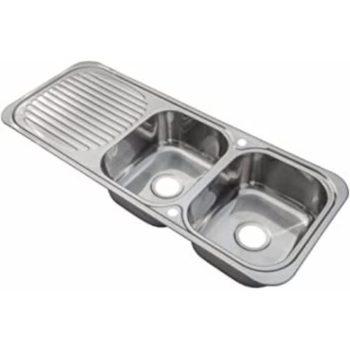 Grand Taps Double Bowl Kitchen Sink with Drainer & Wastes