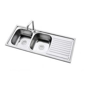 Double-Bowl Stainless Steel Kitchen Sink & Mixer Tap