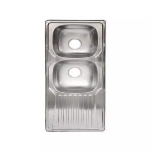 Italian Double Bowl With Side Tray Kitchen Sink