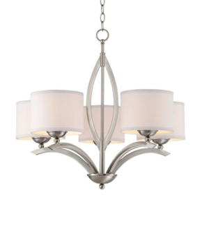 5 Glass Silver Chandelier With Pendent