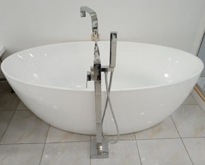 Acur Frestanding Tub with Floor Standing Square Shower (Full Acrylic)