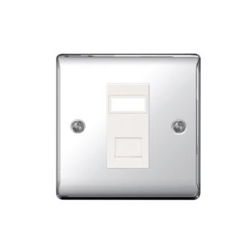 BG Nexus Metal RJ45 Data Outlet Chrome Socket
