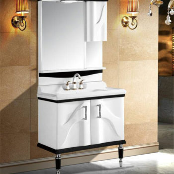 Opine Luxury Bathroom Cabinet with in-built Double Handle Basin Mixer and Cabinet Mirror