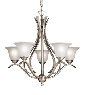 5 Thick Glass Chandelier With Chrome Pendent