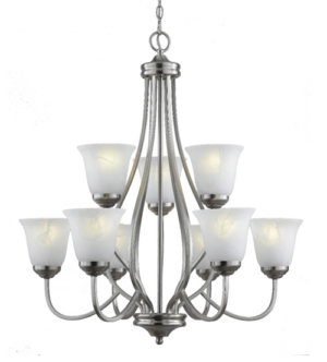 9 Glass Chandelier With Finish Chrome Pendent